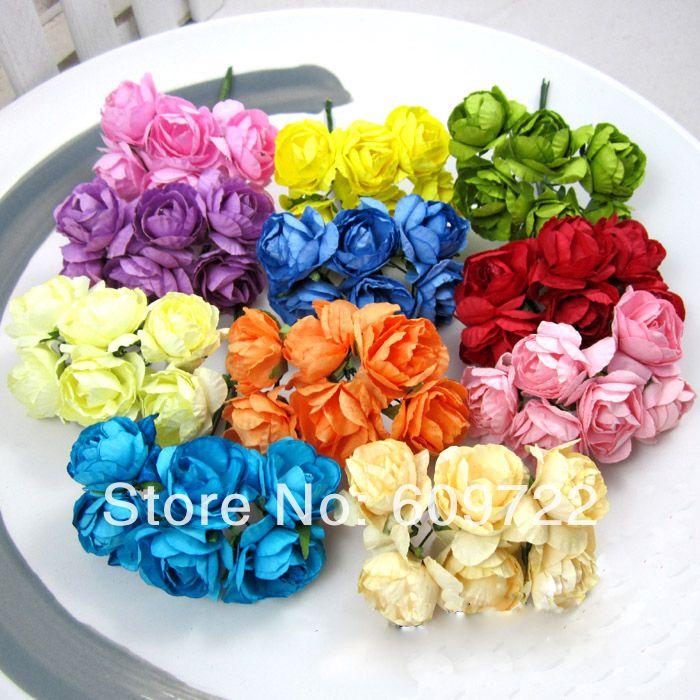 Рукоделие 3см Свадебные украшения 144pcs поделки для конфеты коробка Рододендрон бумажные цветы скрапбукинг Фиолетовый крем fl1445 380,89