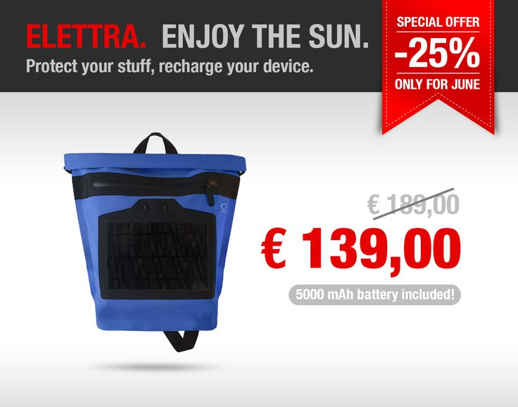 Comfortable shoulder bag– waterproof, lightweight, welded, with Roll Top closing and internal computer pocket. It is equipped with an efficient integrated 5 watt solar charger. The internal controller is removable so the bag can be washed. It has a fabric handle and a large external pocket with water-resistant zip. Italian design – 100% Italian product.