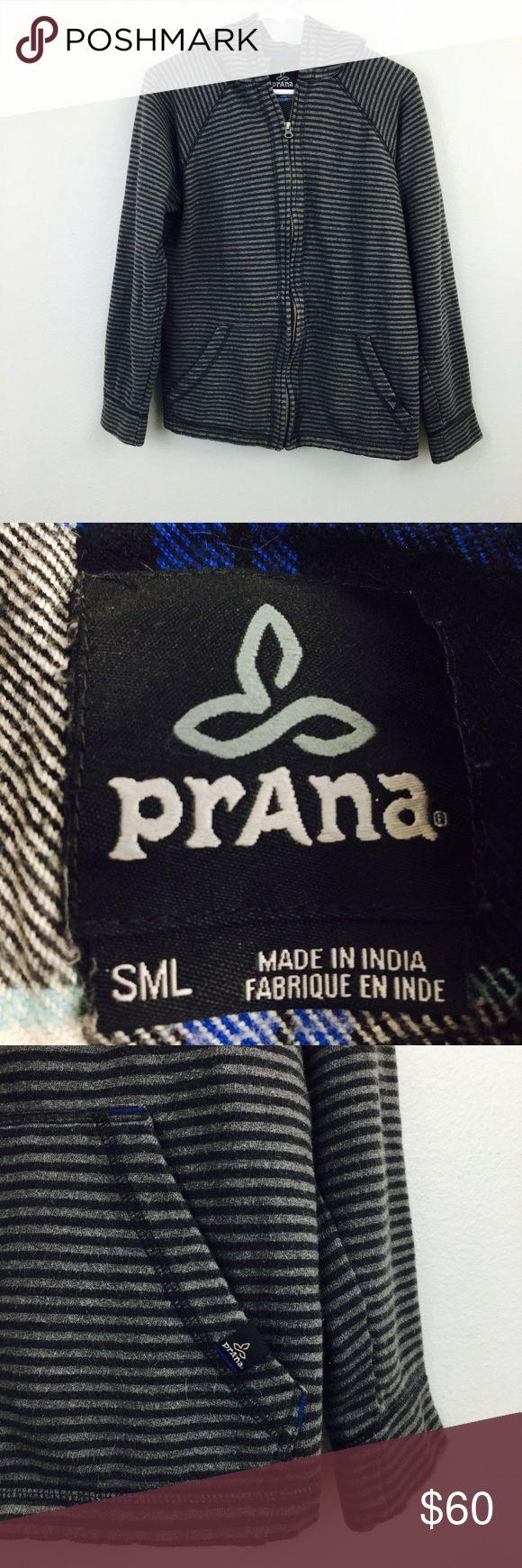 Prana Gray Stripe Zip Up Hoodie Small! Prana Jackets & Coats