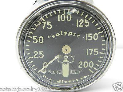 Vintage 42mm Calypso Aqua Lung US Divers Co Wrist Depth Gauge/Scuba & Snorkeling