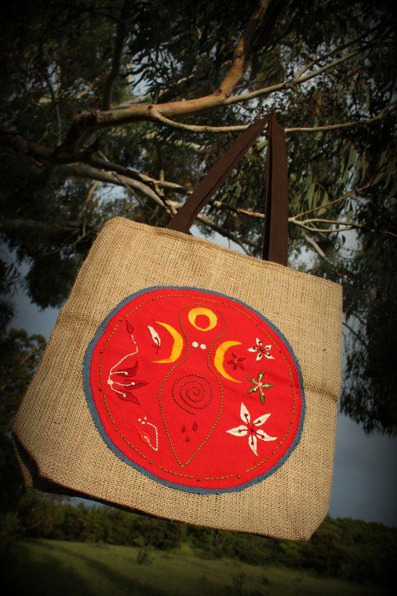 Goddess Tote Bagburlap tote jute Moon Goddess by JaraKacaHandmade