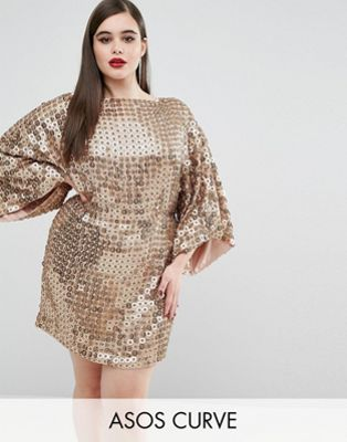 ASOS Curve | ASOS CURVE RED CARPET Gold Disc Sequin Dress