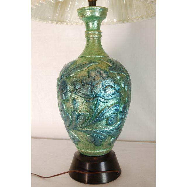 image of vintage green iridescent bluegreen lamp u0026 shade