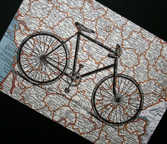 Tour de France Bicycle Print on Map of France