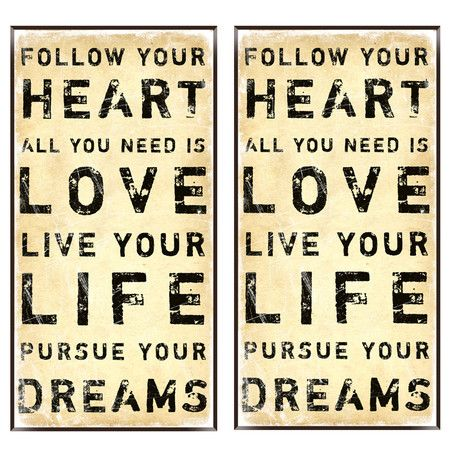 2 Piece Heart & Dreams Wall Art Set