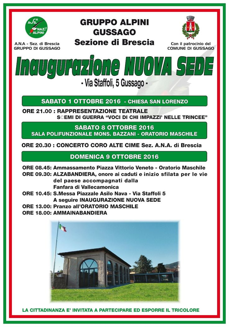 Sabato 8 e domenica 9 ottobre proseguono festeggiamenti nuova sede Alpini - http://www.gussagonews.it/proseguono-festeggiamenti-nuova-sede-alpini-ottobre-2016/