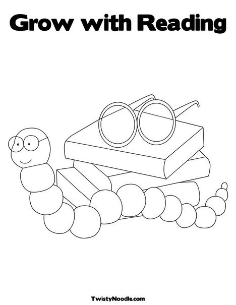 Book Worm Coloring Page First