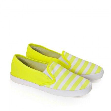 Slip On Stripes Yellow White / Obuwie damskie - www.StyloweButy.pl