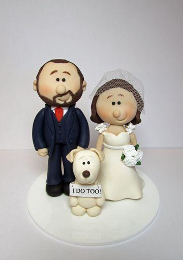 Novelty Personalised Wedding Cake Topper With Pet Dog Saying I Do