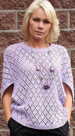 Пуловер оригинального фасона связан спицами. Как связать пуловер спицами