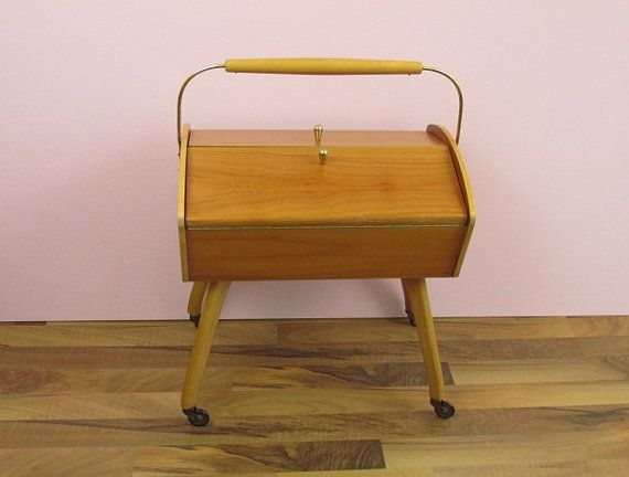 Vintage wooden sewing box  West Germany  60s by ShabbRockRepublic