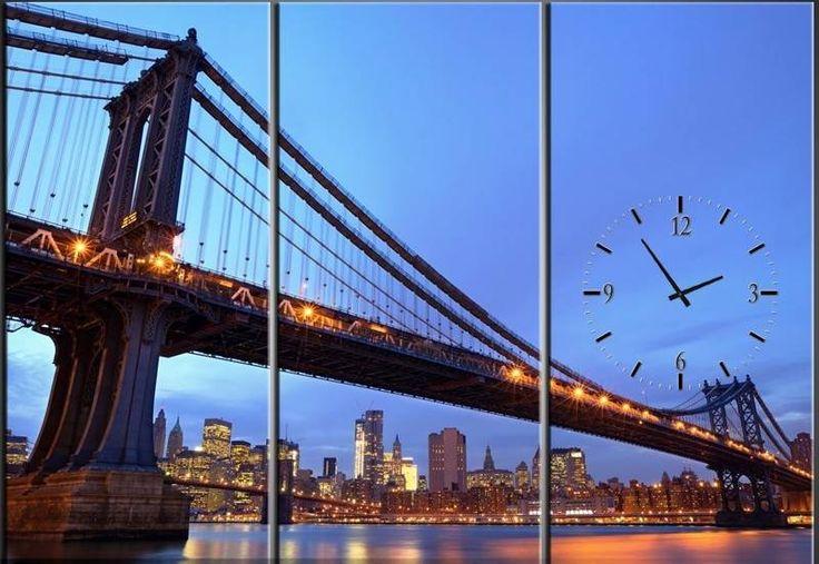 Drie Luik Schilderij Manhattan Bridge met Klok #wandklok #klok #Schilderij