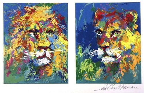 LEROY-NEIMAN-LION-LIONESS-ANIMAL-ART-POSTCARD.jpg 500×326 pixels