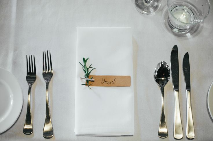 Our DIY name tags with fresh rosemary.