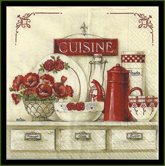 Cucina quattro tovaglioli per Decoupage tessuto di stampsandmore