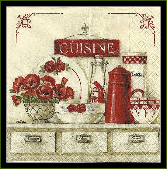 Cuisine Four Napkins For Decoupage Tissue Napkins Poppies Red And Cream Vintage Kitchen Scenery