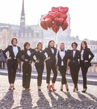 ladies in tuxes hens theme #redheartballoons red heart balloons #girls night out #weddingDIY