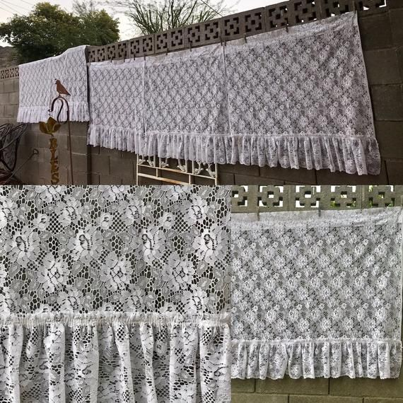 80s Vintage Sears Matching Set Of 5 White Lace Curtain Panels 41