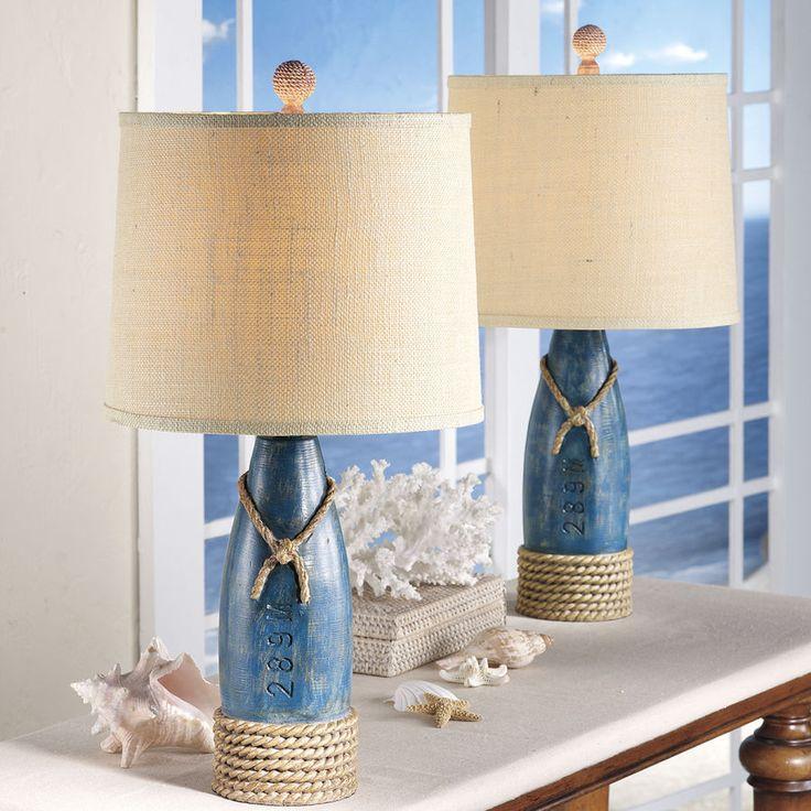 olha que bonito para fazer com garrafas de vinho algumas até já são azuis Pair of Buoy Table Lamps