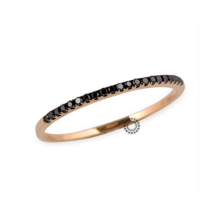 Μοντέρνο λεπτό δαχτυλίδι σειρέ ροζ χρυσό Κ18 με μαύρα διαμάντια | Δαχτυλίδια με ορυκτές πέτρες Κοσμηματοπωλείο ΤΣΑΛΔΑΡΗΣ Χαλάνδρι #σειρέ #μαύρο #διαμάντια #δαχτυλίδι