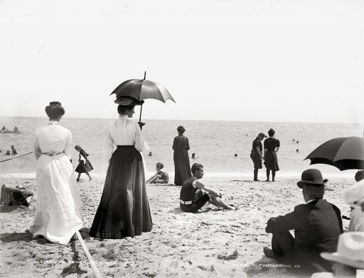 """Palm Beach, Florida, ca.1905 Looking at this, how on earth did they """"enjoy"""" the beach?  Oh, I'm so glad I didn't live in those days!"""