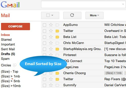 Sorting gmail inbox by file size is a good idea... now we can study how to do it?: Good Ideas