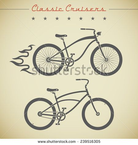 Classic cruiser flat looking bicycles decorated with flame, stars and text