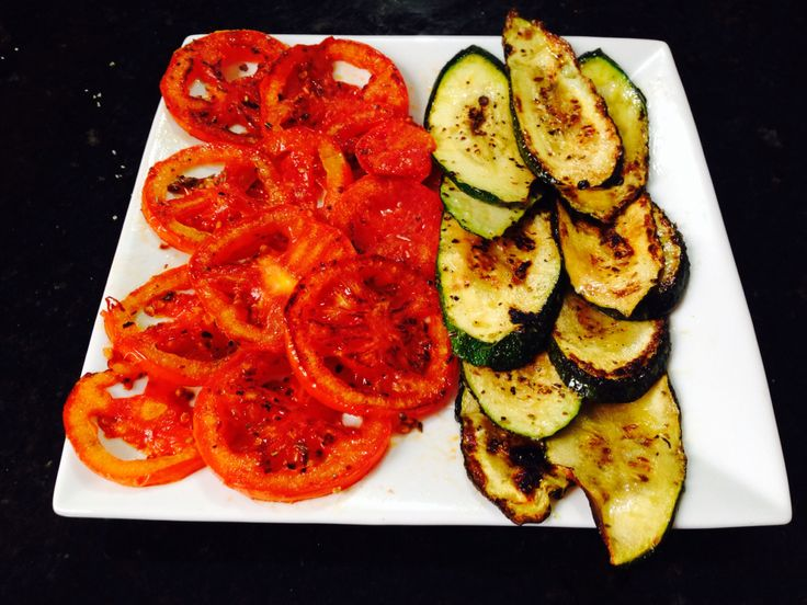 Grilled tomatoes and zucchini.