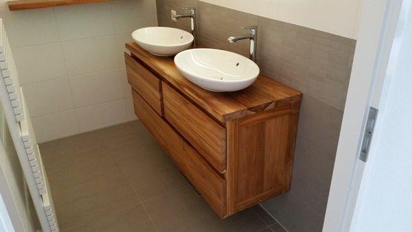 Zwevend badkamermeubel gemaakt van teakhout. Ideeën voor huisstylingen. > wortman meubelen