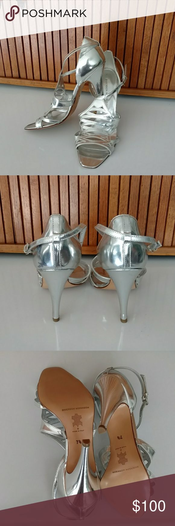 Stunning! Sigerson Morrison Designer Heels * Beautiful and mirror like silver Sigerson Morrison heels made in Italy. Size 7.5 worn only one time. * Note the last photo shows a scuff above the heel, I have not tried to clean. Gorgeous shoes!! Sigerson Morrison Shoes