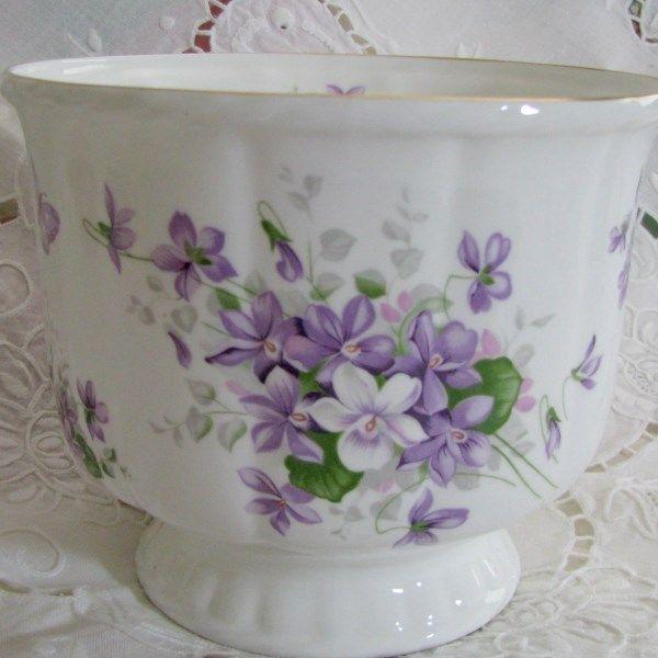 Aynsley Wild Violets Cachepot at Cottage Violets