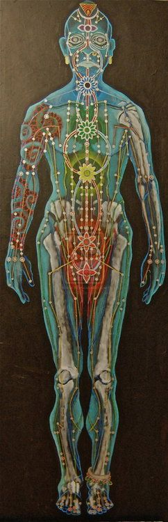 Beautiful depiction of one way of understanding where the chakras are in the body. ... And acupuncture !