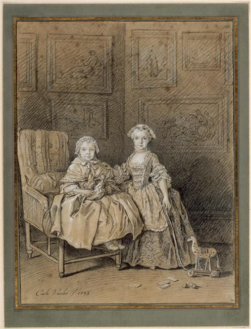 Portrait of Catherine-Félicité and Adélaïde Berthelin de Neuville, by Carle Van Loo - 1743. | Musee du Louvre