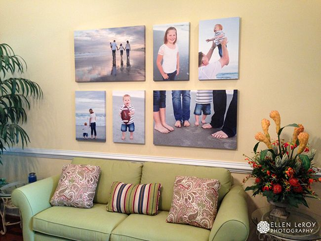 Love this idea for displaying photo canvasses - instead of one ginormous one, combine smaller ones!