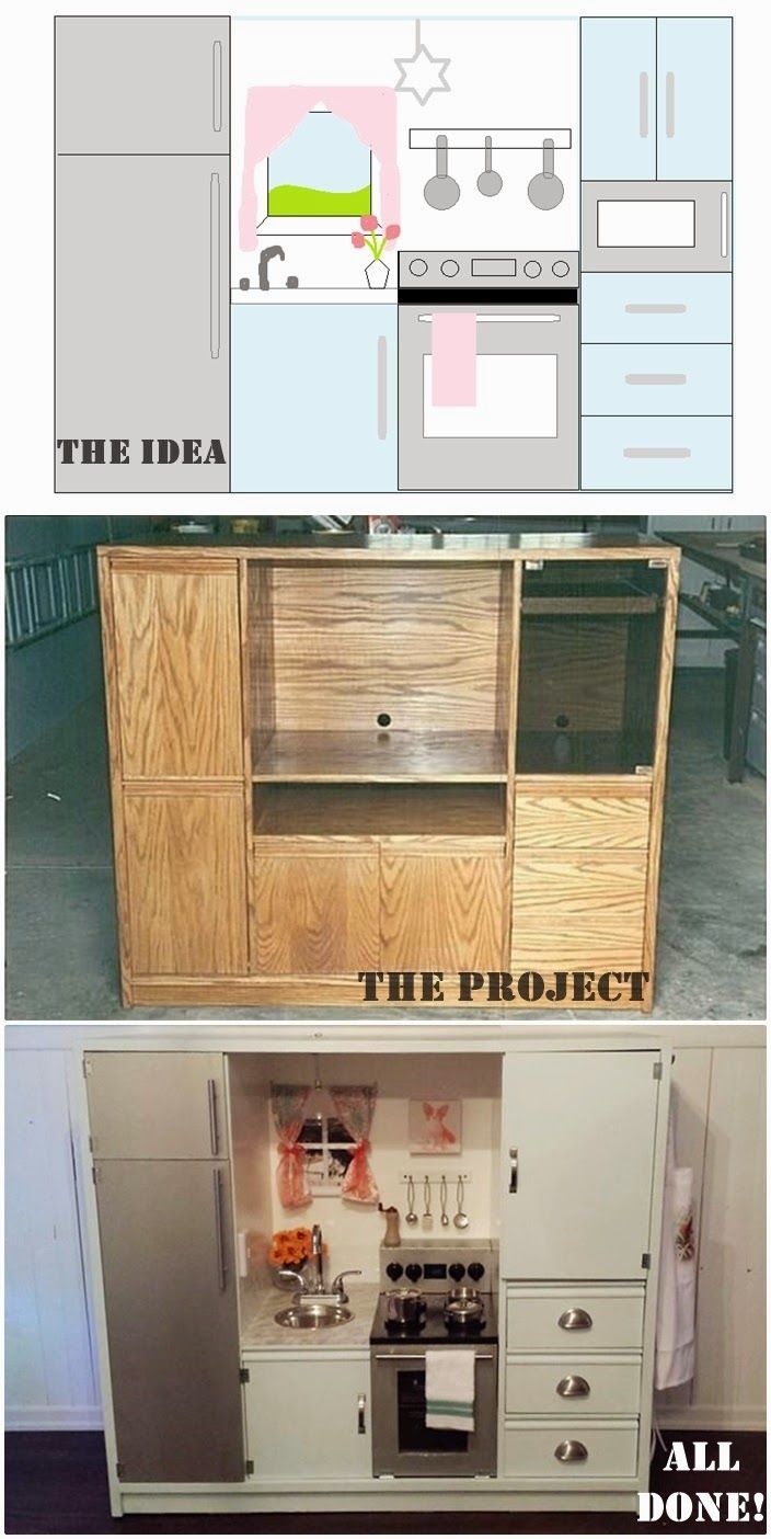 DIY play kitchen made from a TV stand. Includes instructions, prices and supply list