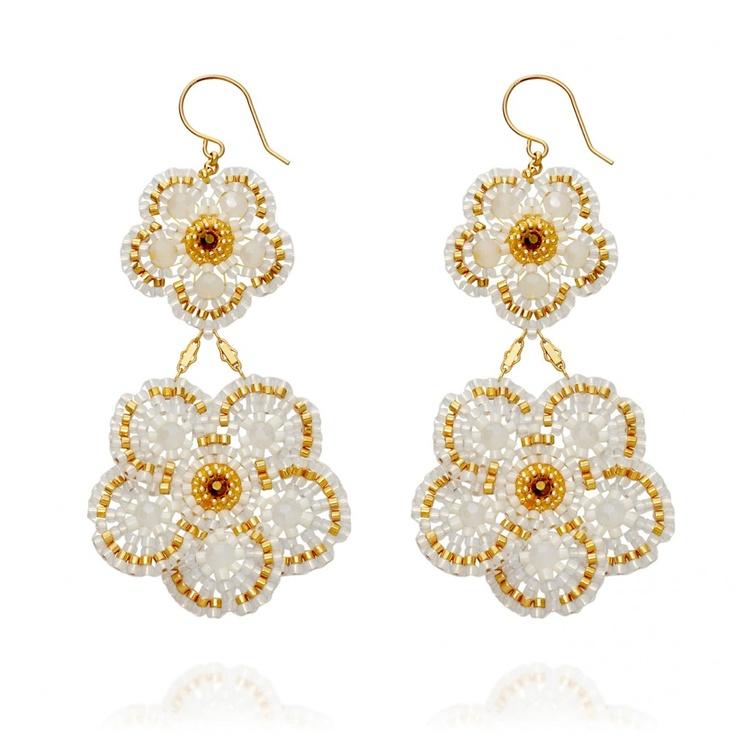 Flower Power, Opalite Flower Drop Earrings by Miguel Ases have us dreaming of summer days and nights #AstleyClarke #designer #jewellery #MiguelAses #beaded #drop #earrings #gemstone #jewelry
