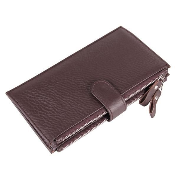 [US$32.56] Men Genuine Leather Capacity Credit Card Holder Wallet Double Zipper …