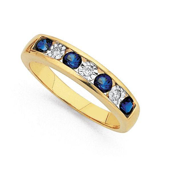 9ct Synthetic Sapphire & Diamond Ring