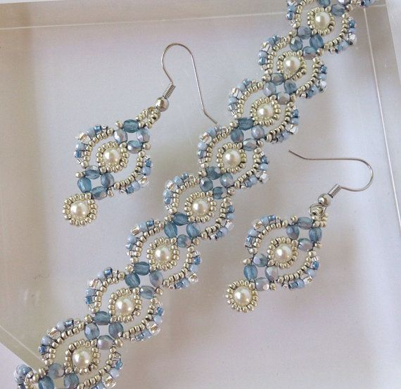 Silver blue and white Lovely Lace earrings by BeadALittleDream
