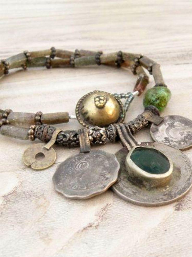 Nomadic Talisman Necklace - Tribal Gypsy, Coin Jewelry, Belly Dance, Dark Earthy…