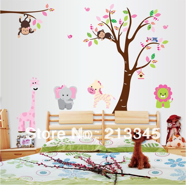 Fancy Wandtattoo Kinderzimmer Baum Waldwald Tiere