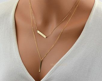 Check out Gold Layering Necklace/ Layered Necklace/ Skinny Bar/ Necklace Stacked/ Double Strand Personalized Necklace/ Layering Necklace Set Of Two on malizbijoux