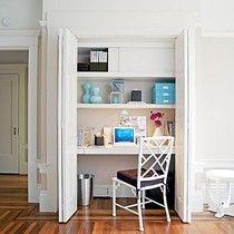 turn a closet into a tiny home office