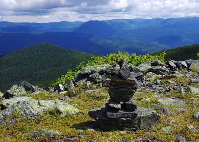 An inukshuk on the summit of Le Mont Albert in Quebec