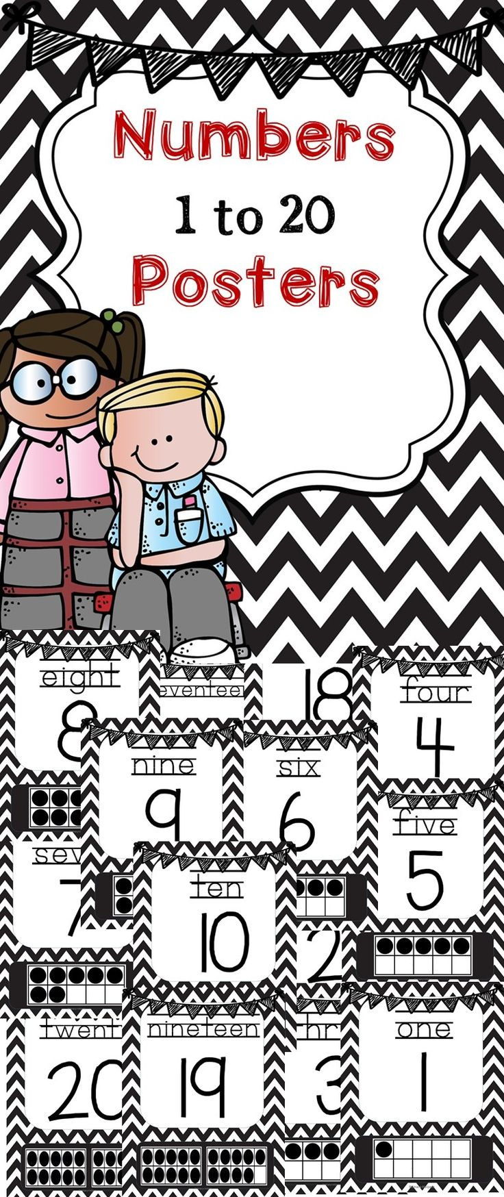 Chevron Number posters 1 to 20 in black and white and can be run on colored paper to match any decor.