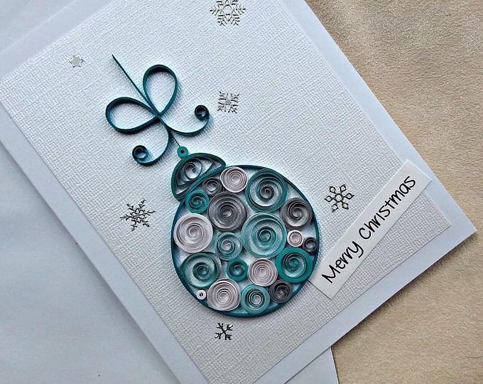 papel hecho a mano quilled tarjeta de Navidad – feliz Navidad
