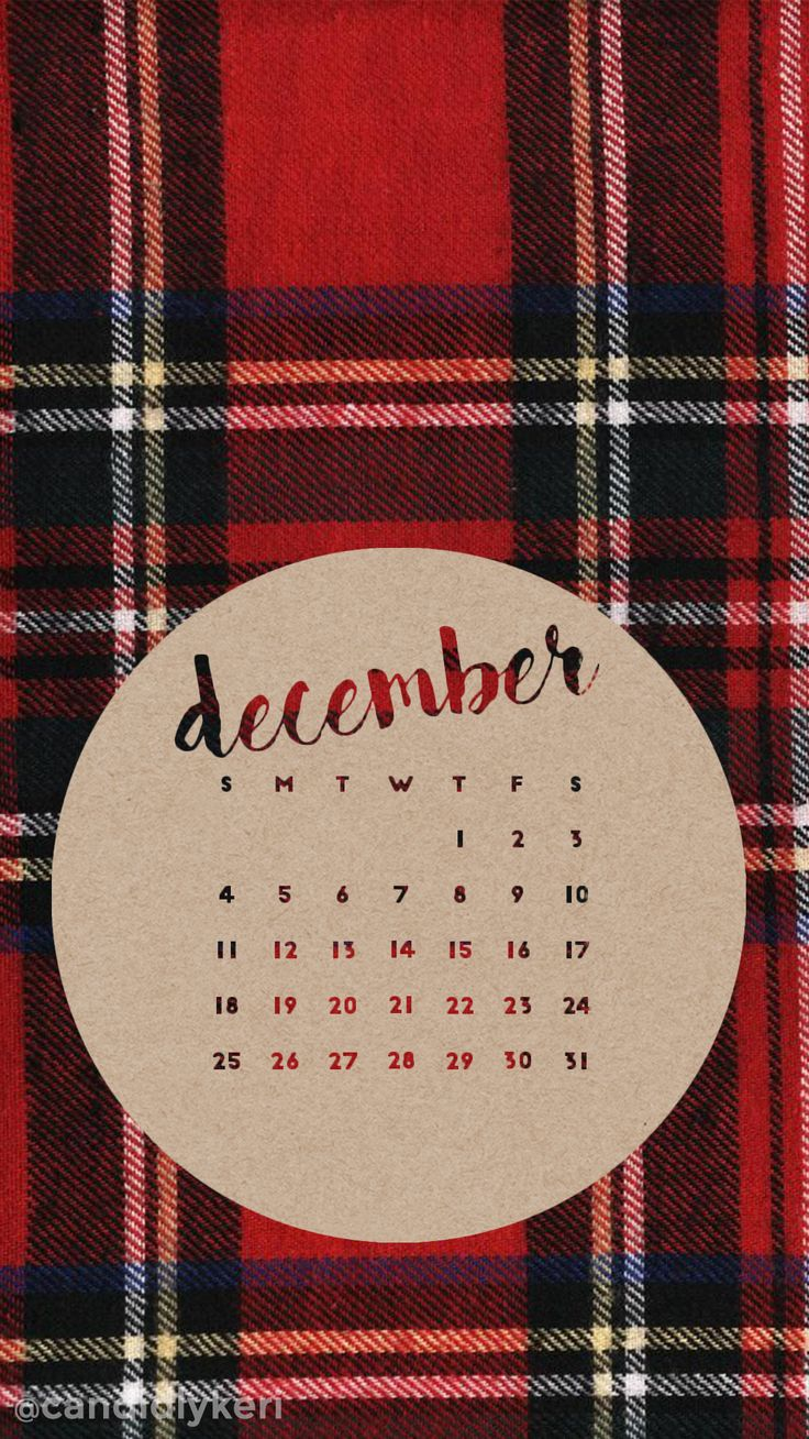 Flannel red plaid December calendar 2016 wallpaper you can download for free on the blog! For any device; mobile, desktop, iphone, android!