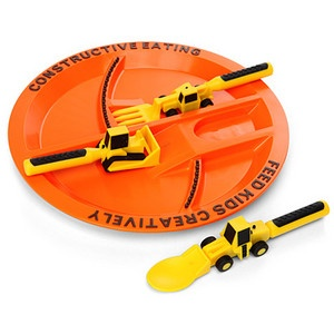 For construction truck crazy kids: divided plate comes with a forklift fork and front loader spoon