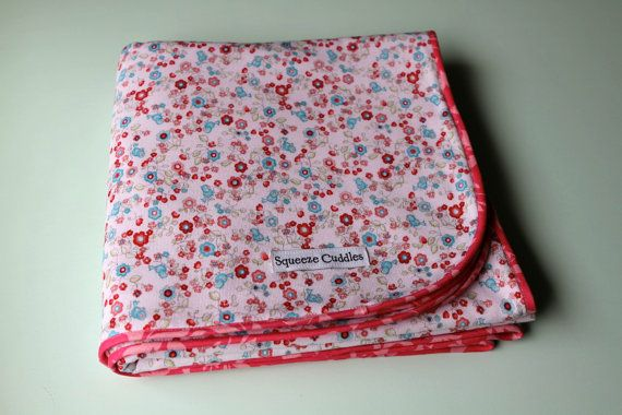 XL Flannel Receiving Blanket, blue bird and floral, by SqueezeCuddles