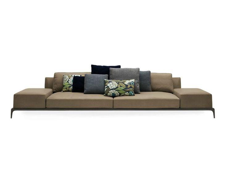 Anbausofa aus Leder mit abnehmbarem Bezug PARK | Sofa aus Leder - Poliform